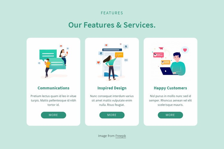 Our features and services Html Code Example