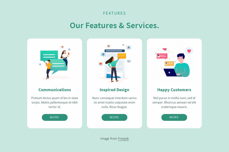 Our features and services Website Mockup