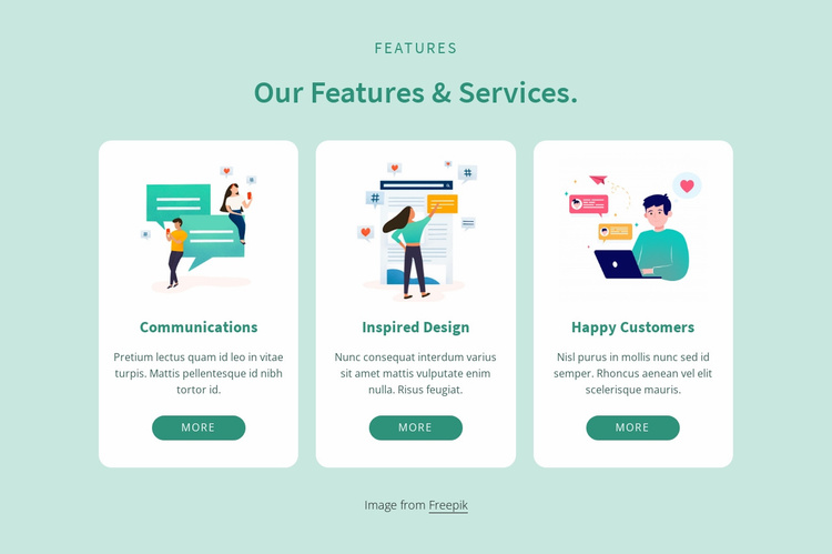 Our features and services Website Template