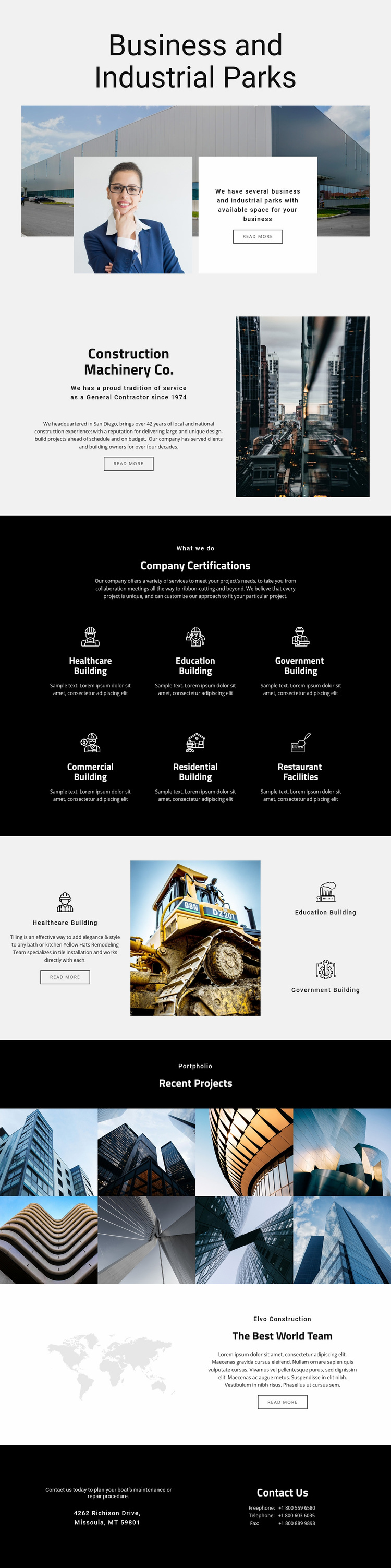 Machinery parks for industrial Web Page Designer