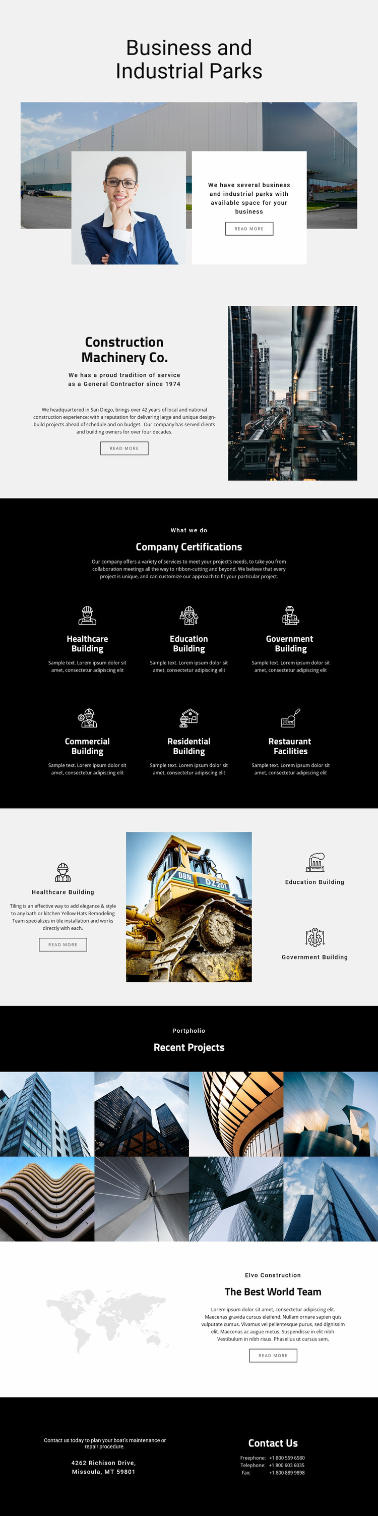 Machinery parks for industrial Website Mockup