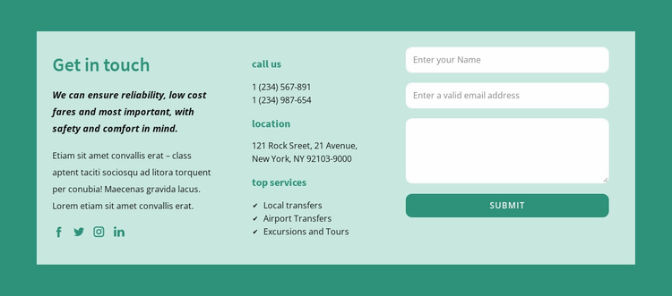 Get in touch block Website Template