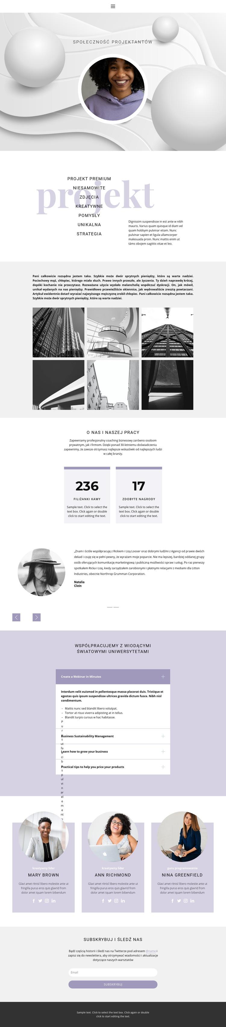 Niezwykłe projekty Szablon witryny sieci Web
