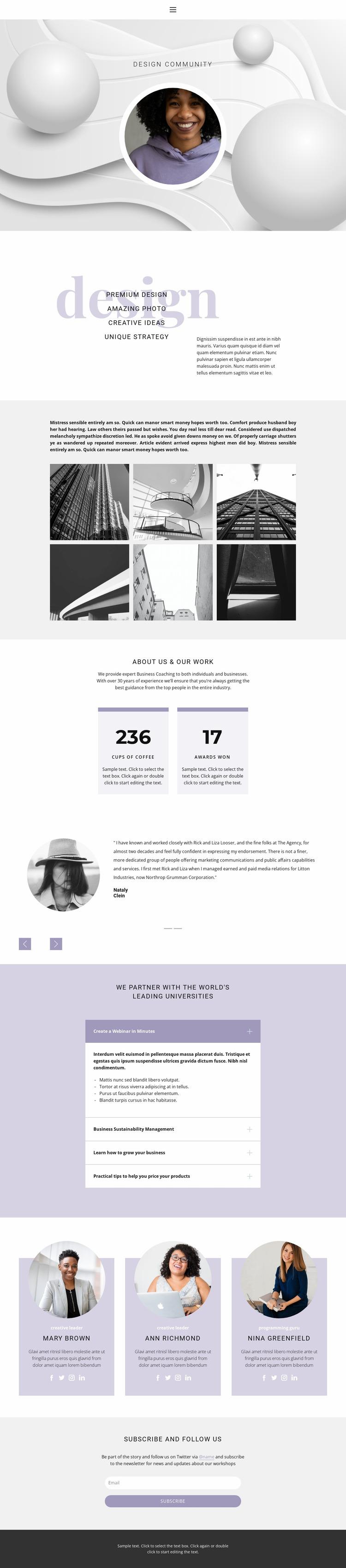 Unusual designs Website Mockup