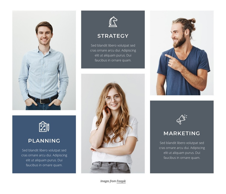 Planning, strategy and marketing Html Code Example