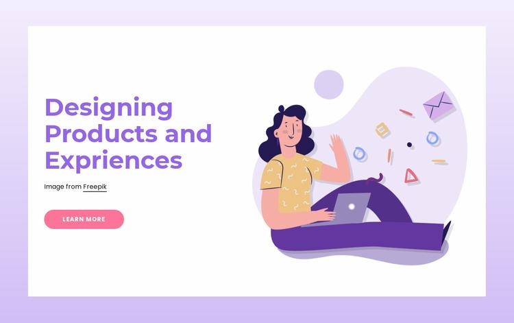 Designing products Website Mockup