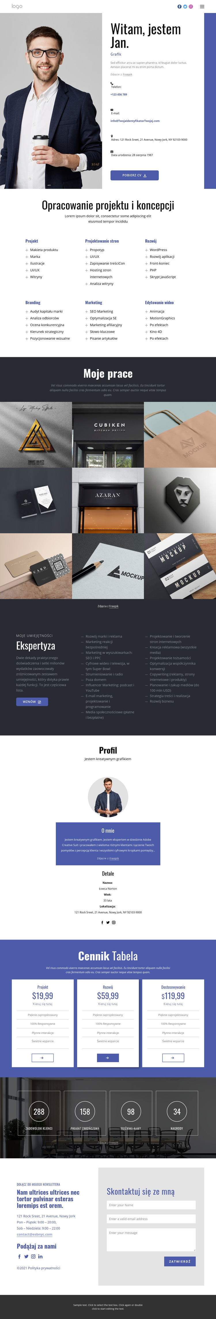 Projekt koncepcyjny Szablon witryny sieci Web