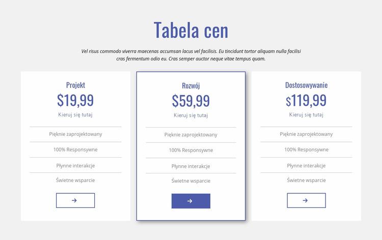 Czysta tabela cen Szablon Joomla