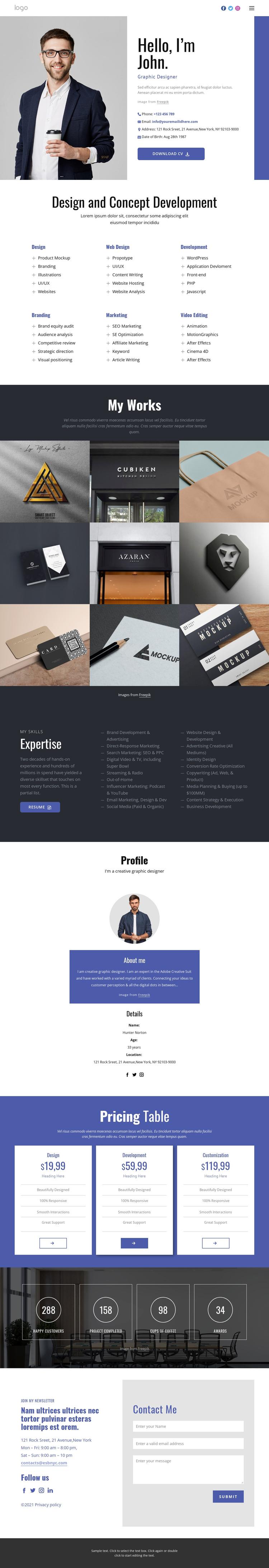 Conceptual design Website Builder Software