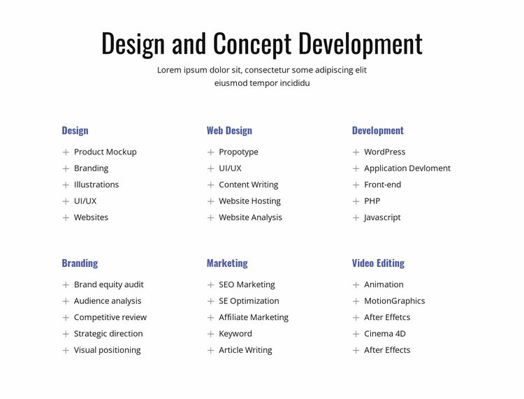 Design and concept development Html Code Example