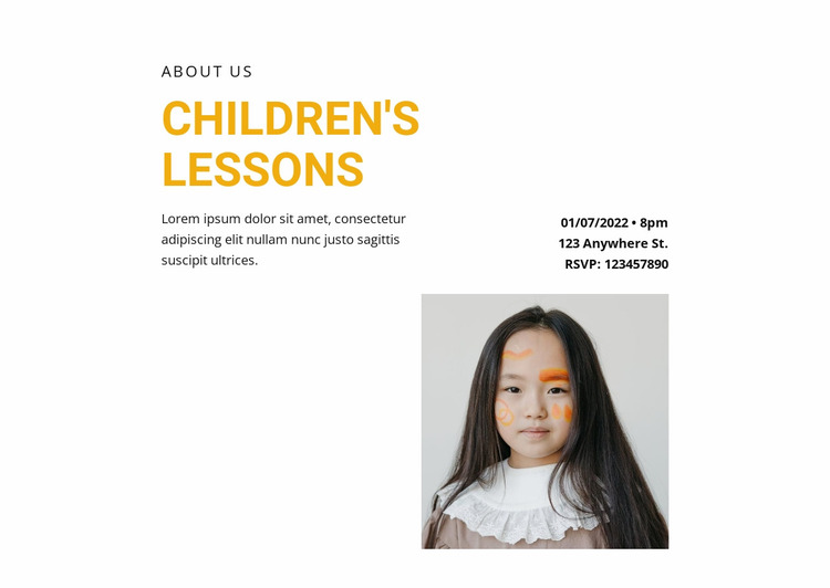 Lessons for the little ones Website Mockup