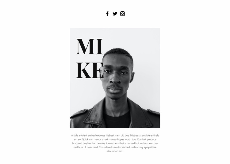 About Mike Website Mockup