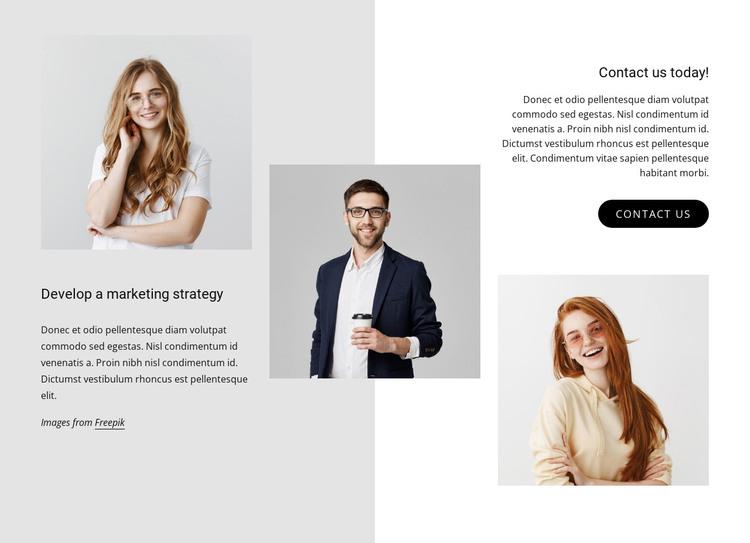 Develop a marketing strategy HTML Template