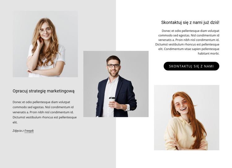 Opracuj strategię marketingową Szablon witryny sieci Web