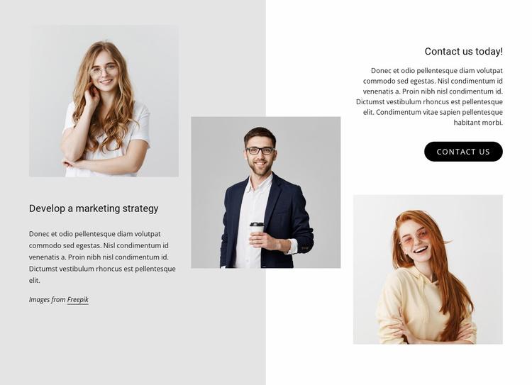Develop a marketing strategy Website Template