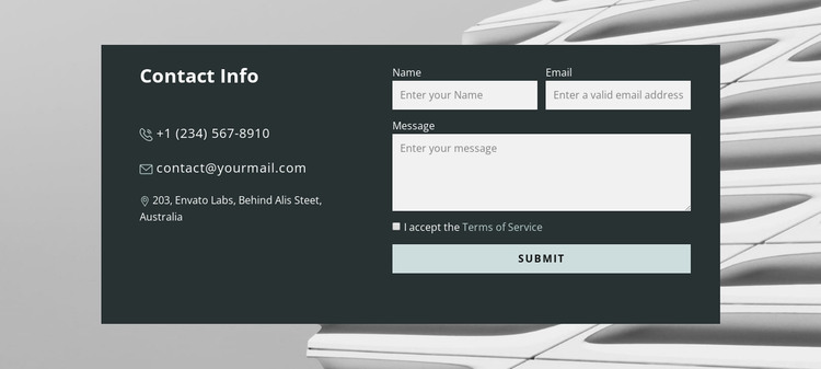 Contact form in the picture Web Design
