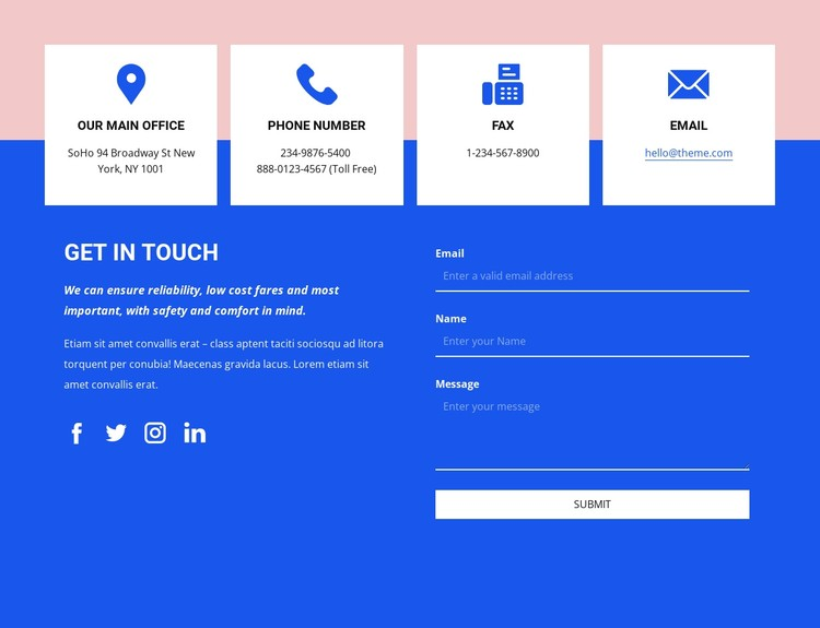 Get in touch with icons CSS Template