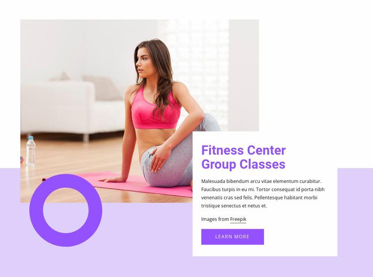 Fitness center group classes Website Design