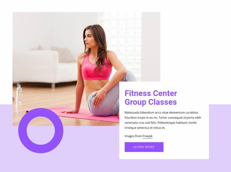 Fitness center group classes Website Mockup