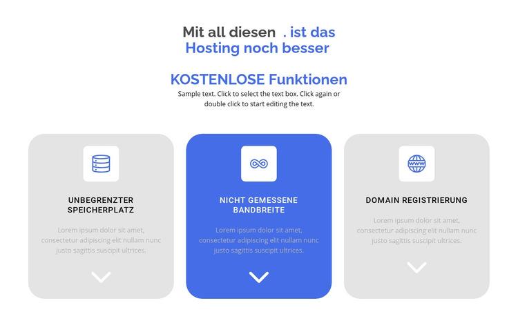 Neue kostenlose Funktionen Website-Vorlage