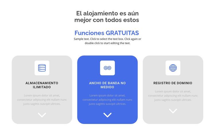 Nuevas funciones gratuitas Plantilla de sitio web