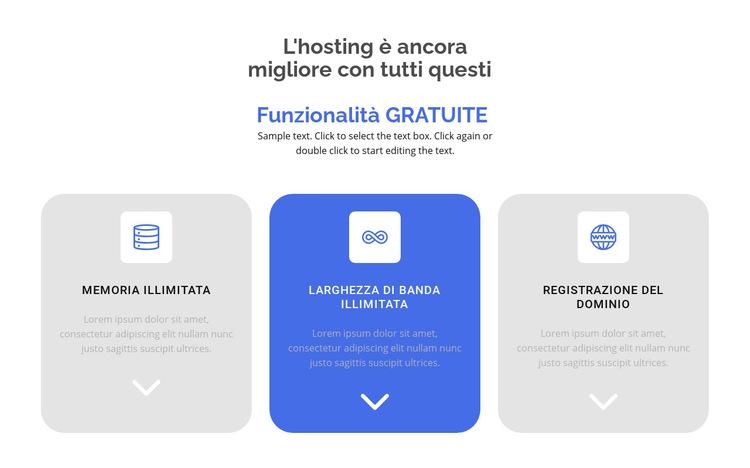 Nuove funzionalità gratuite Modello di sito Web