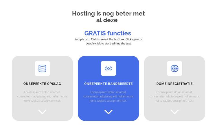 Nieuwe gratis functies Website sjabloon