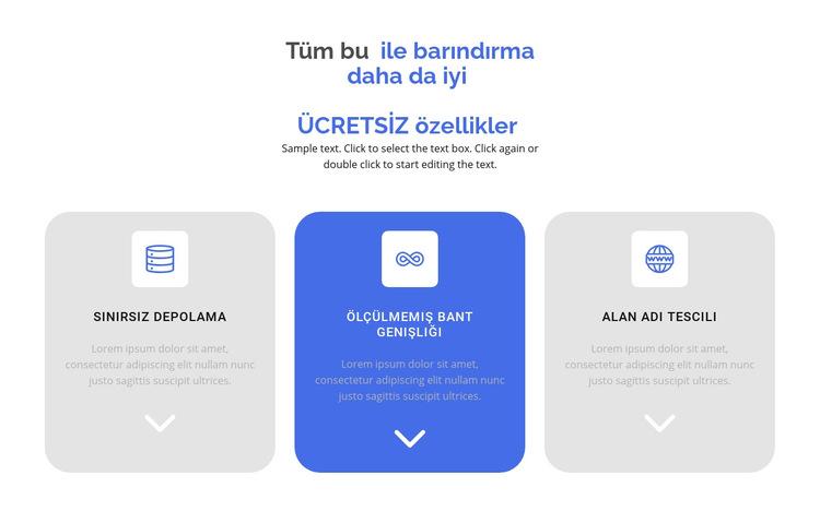 Yeni ücretsiz özellikler Web Sitesi Şablonu