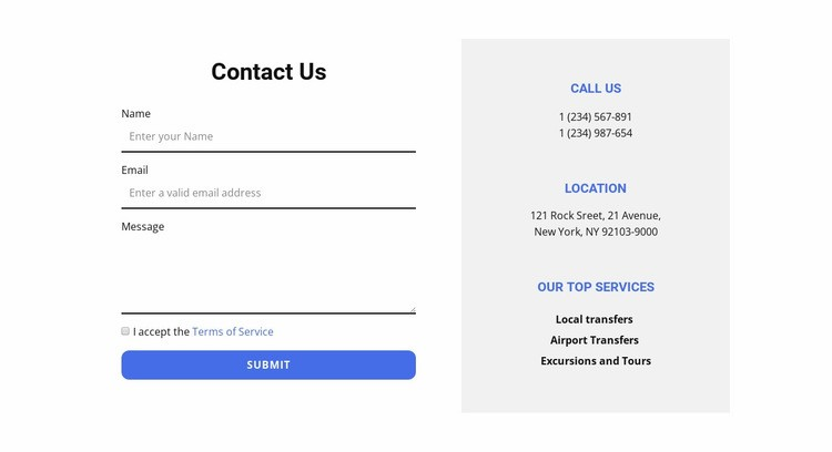 Contact form and contacts Html Code Example