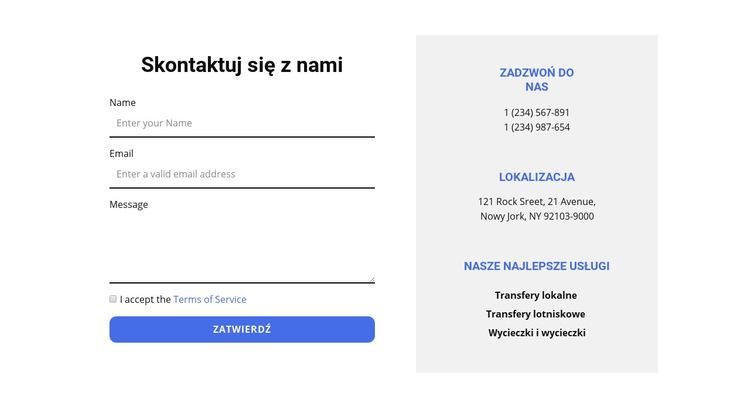 Formularz kontaktowy i kontakty Szablon witryny sieci Web