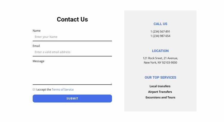 Contact form and contacts Website Template