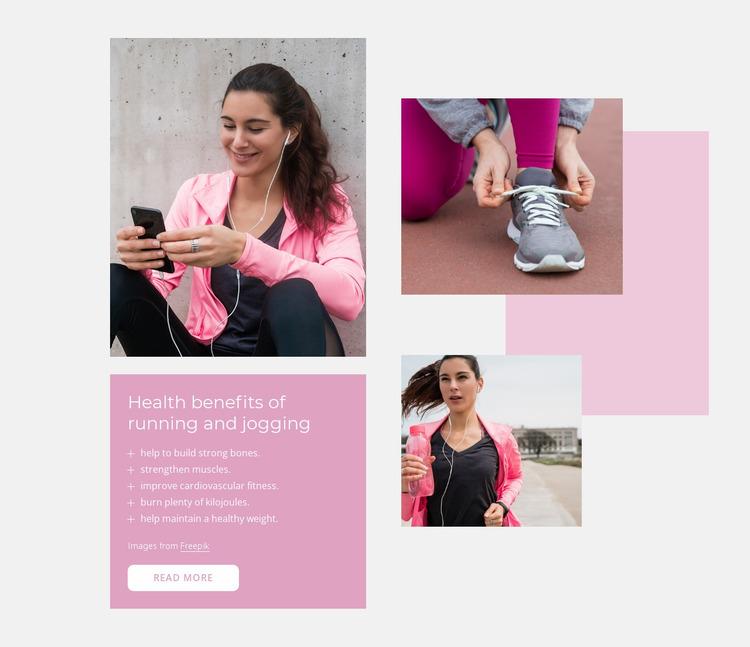 Health benefits of running Website Mockup