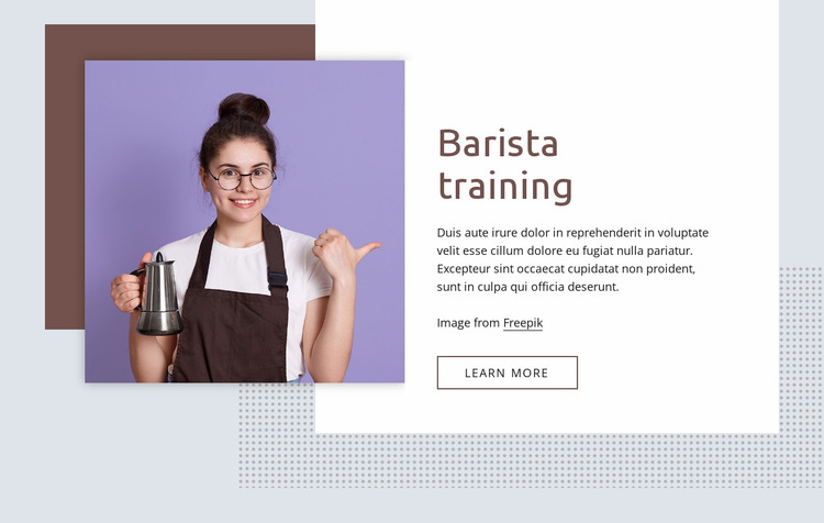 Barista training basics Website Mockup