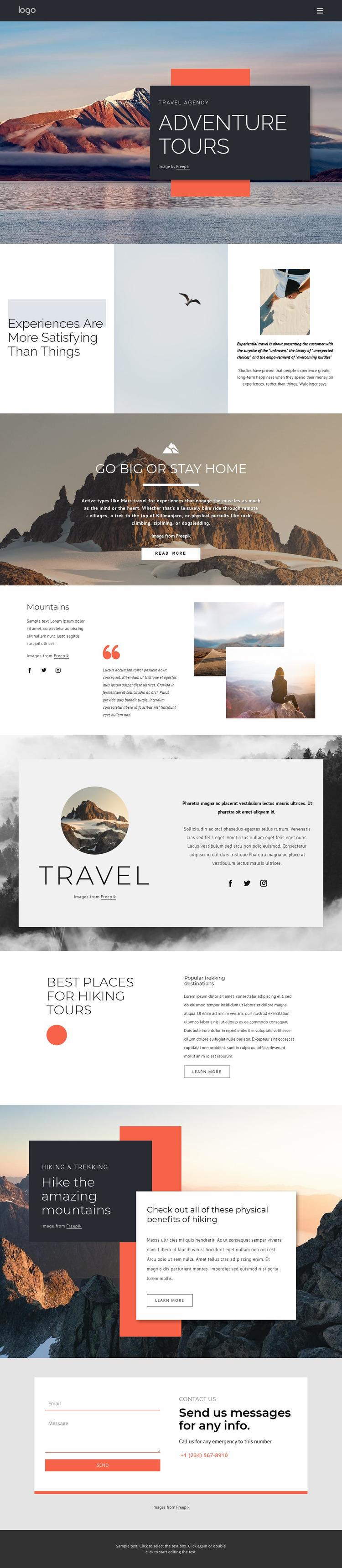 We provide hiking tours Website Mockup