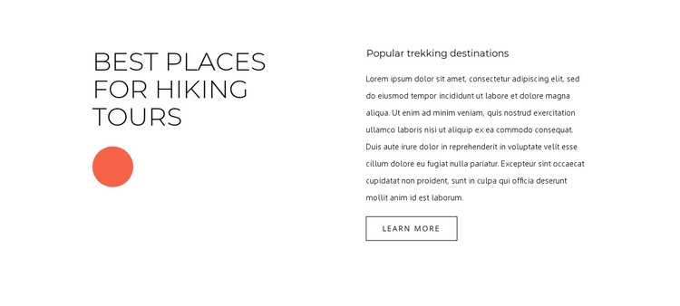 Best places for hiking tours HTML Template