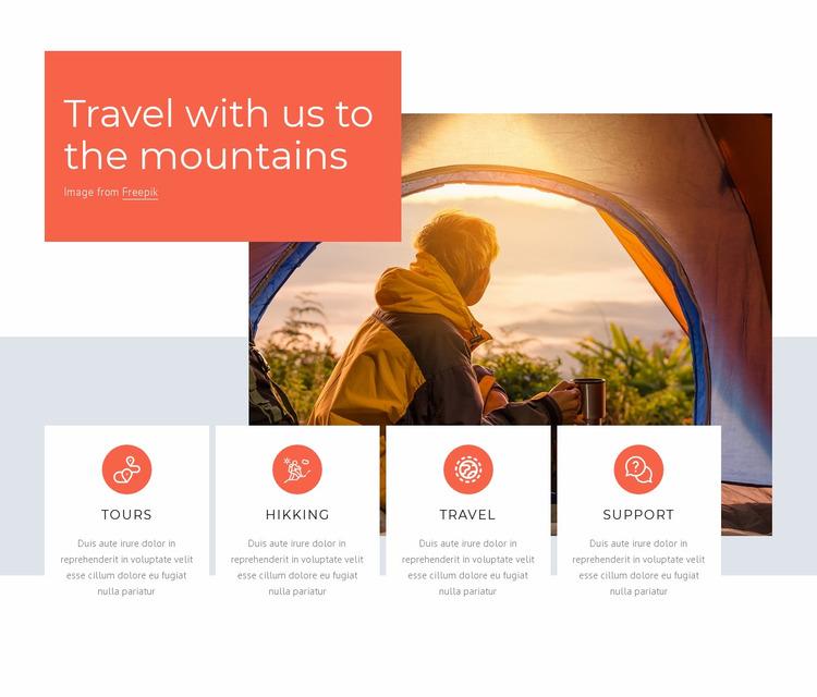 Hiking and trekking travel tours Website Mockup
