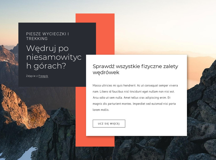 Długa wycieczka piesza Szablon witryny sieci Web