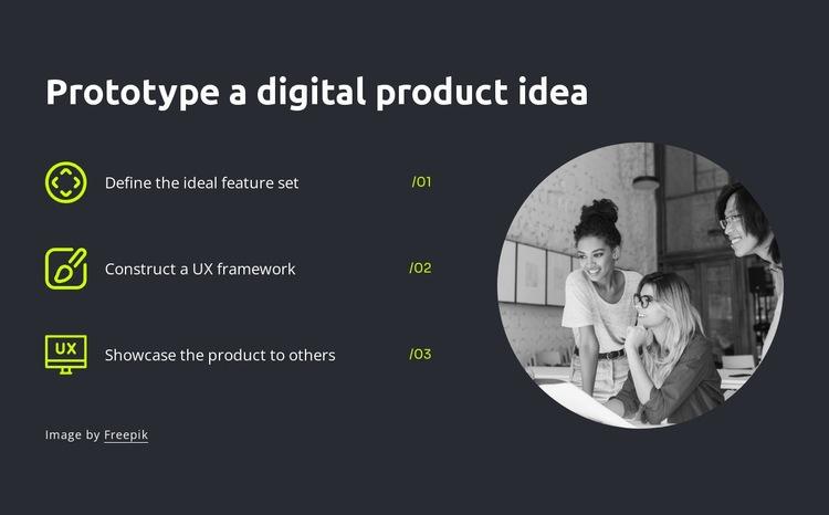Prototype a digital product idea Html Code Example