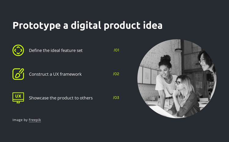 Prototype a digital product idea Website Template