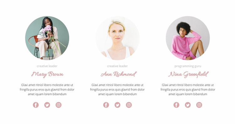 Three girls from the team Website Template