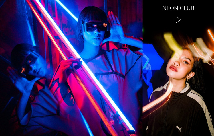 Neon club and entertainment WordPress Website Builder