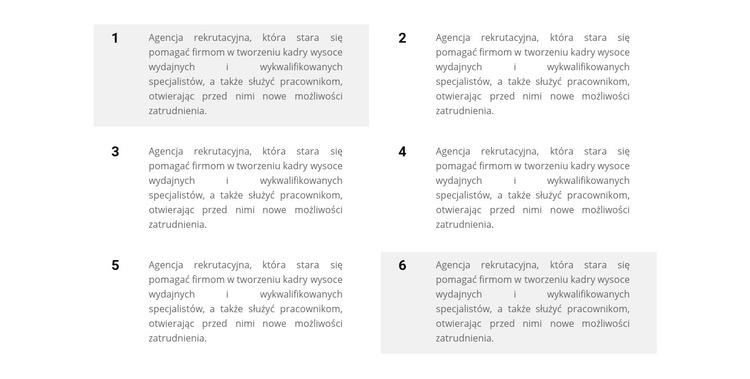 Sześć bloków tekstu Szablon witryny sieci Web