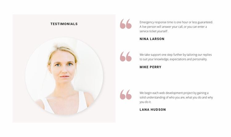 Three company reviews Website Template