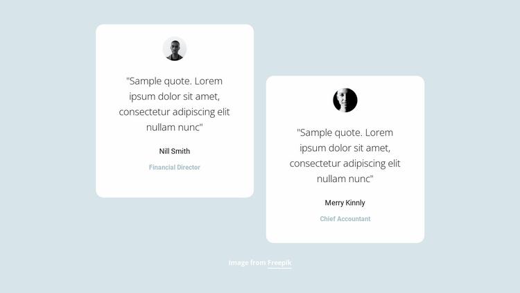 Two short testimonials Website Template