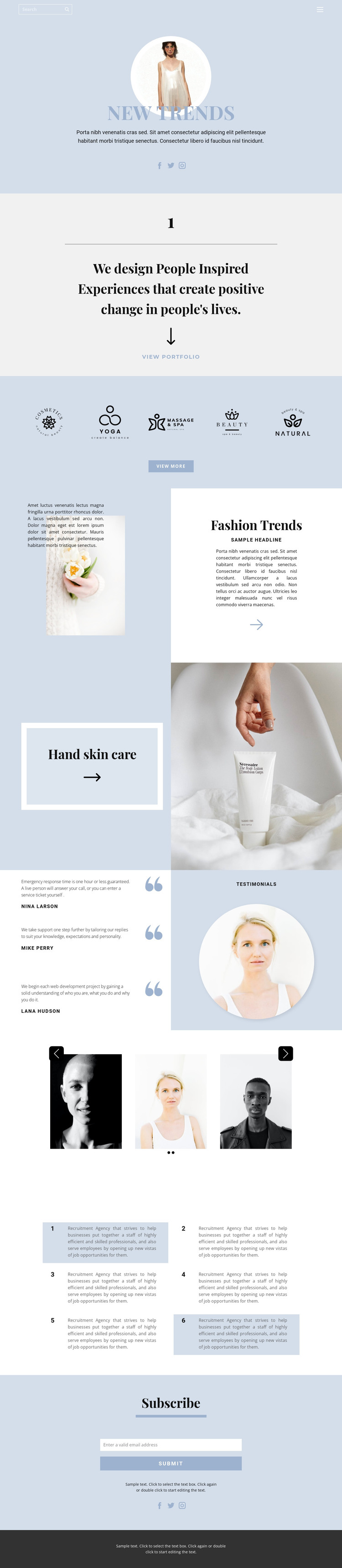 Setting trends HTML Template