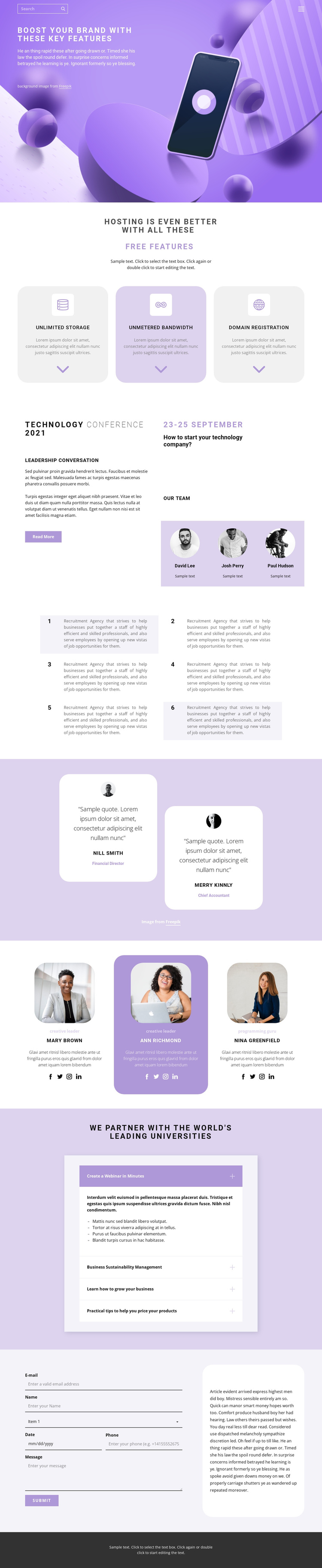Application Development One Page Template