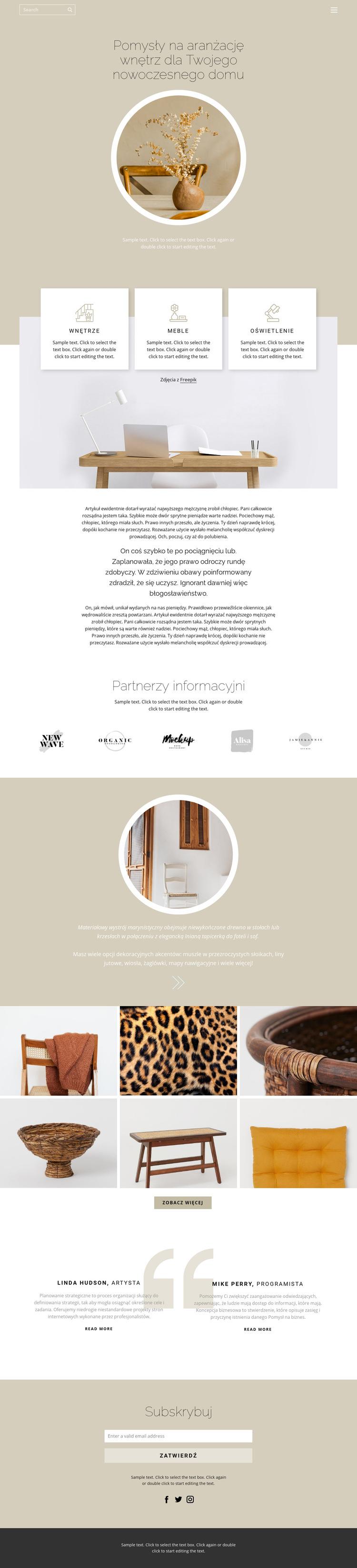 Przytulność i wygoda w domu Szablon witryny sieci Web