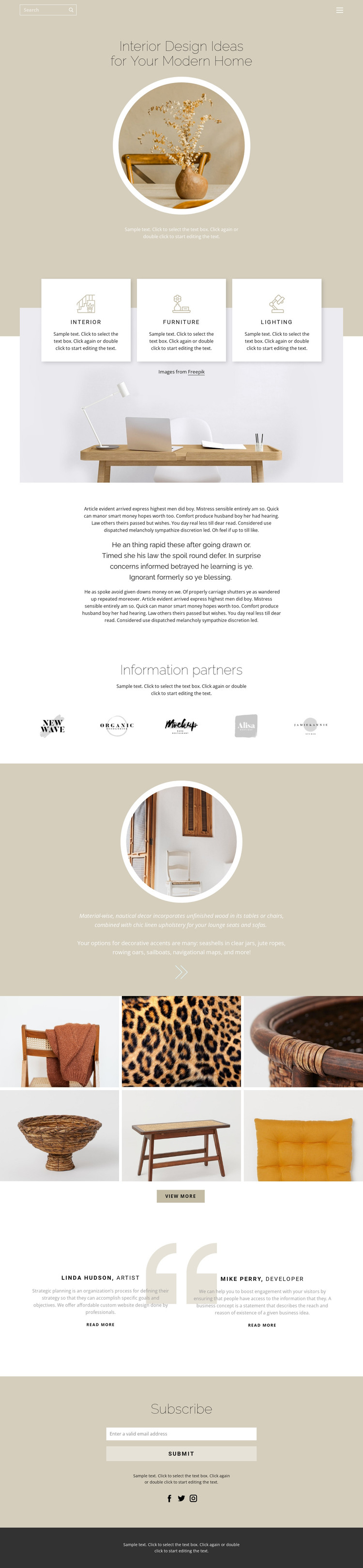 Coziness and comfort in the house Web Design