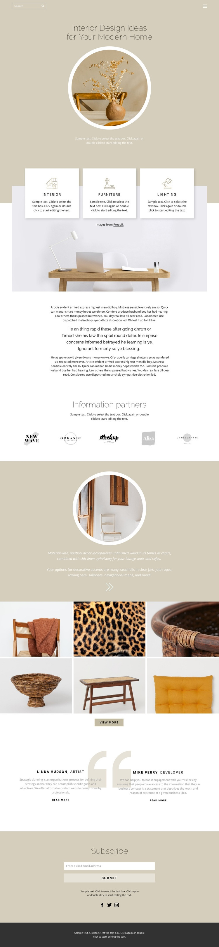 Coziness and comfort in the house Web Page Designer