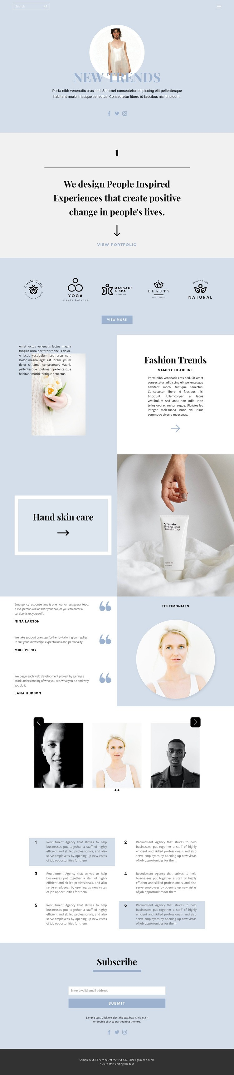 Setting trends Web Page Designer
